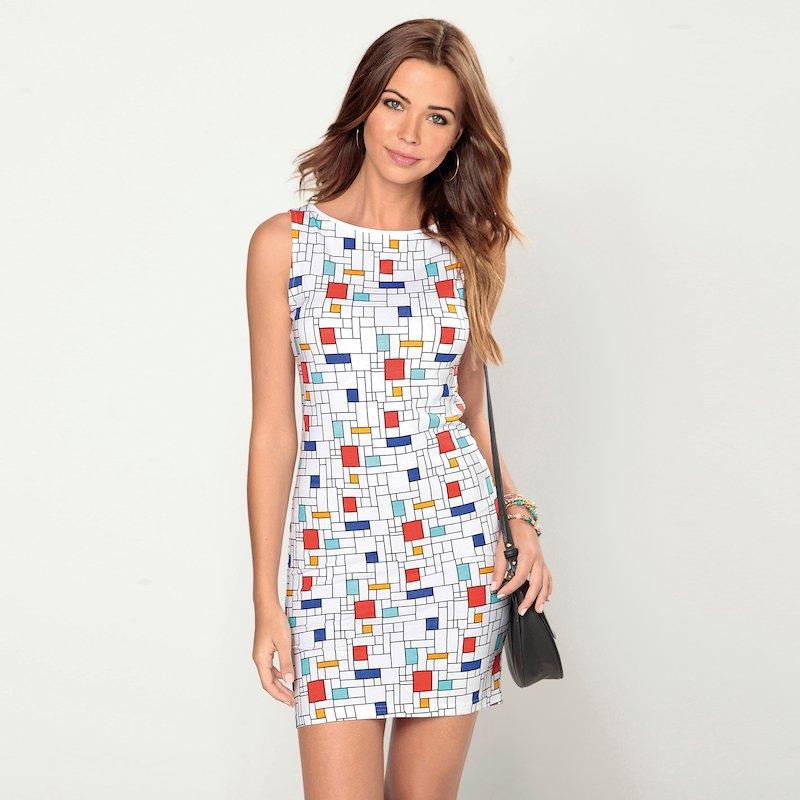 Vestido sin mangas estampado con diseño geométrico