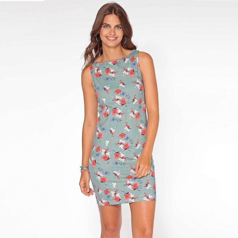Vestido de punto algodón sin mangas de flores