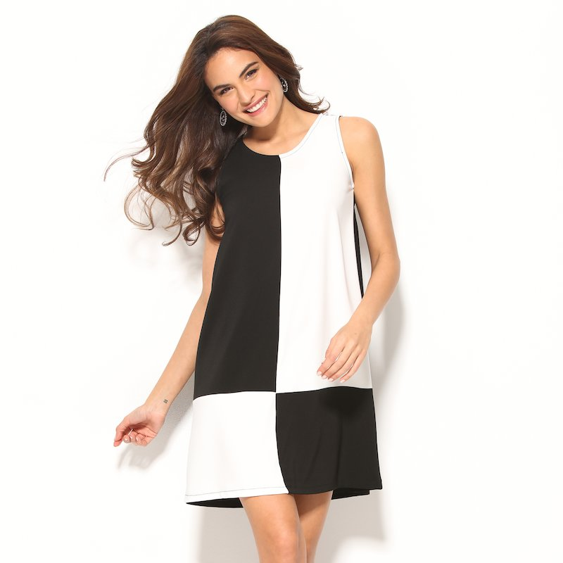 Vestido damero sin mangas blanco y negro