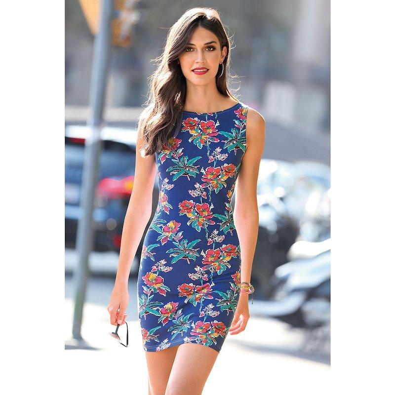 Vestido de punto floral multicolor sin mangas mujer