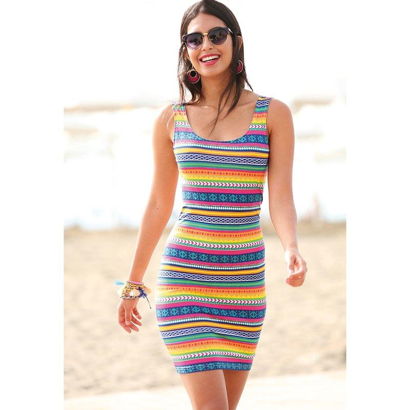 Vestido sin mangas con estampado tribal multicolor