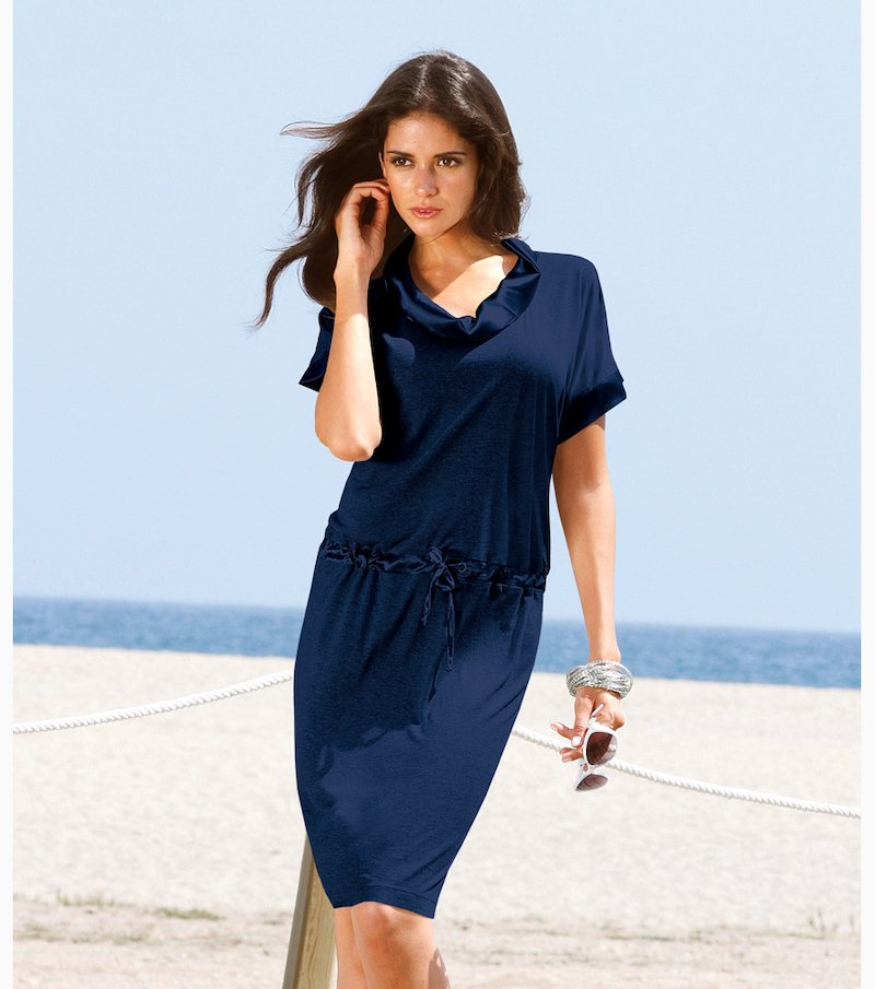 Vestido mujer con satén punto 100% viscosa - Azul