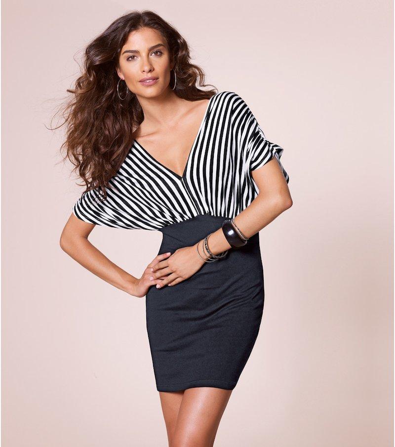 Vestido mujer manga corta efecto doble