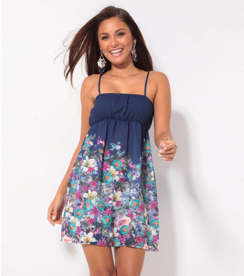 Vestido corto mujer tirantes regulables flores