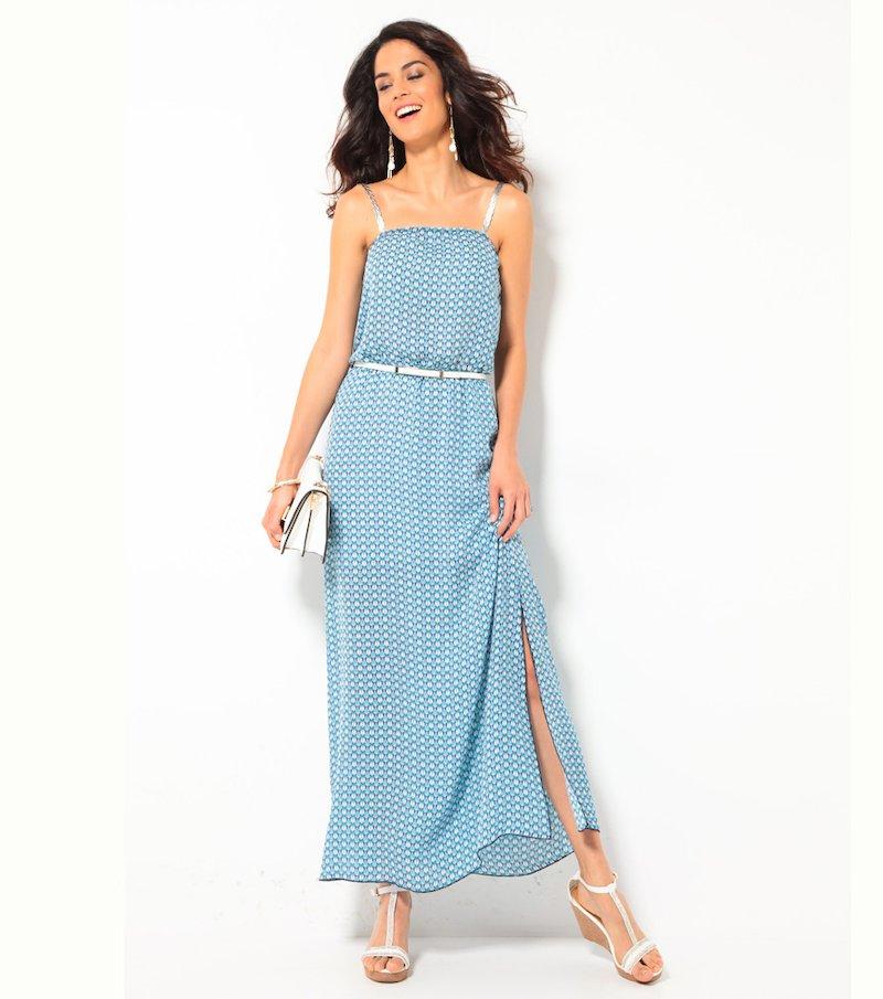 Vestido largo mujer con tirantes plateados
