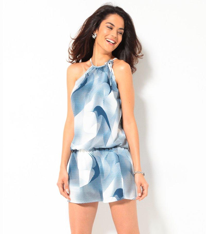 Vestido corto mujer halter estampado