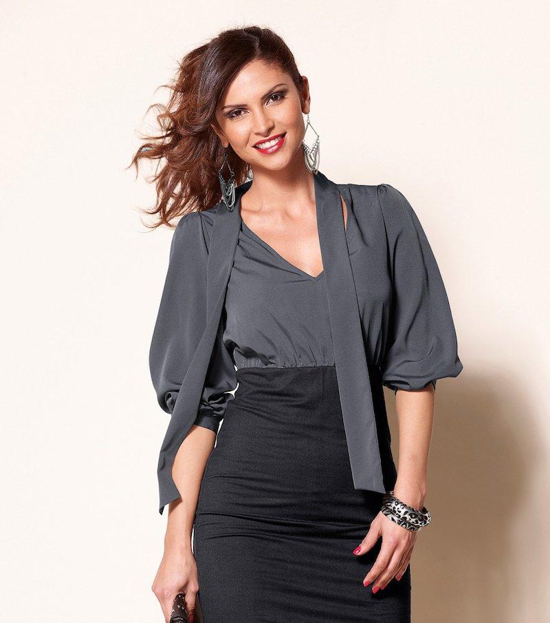 Vestido mujer manga 3/4 efecto doble blusa y falda