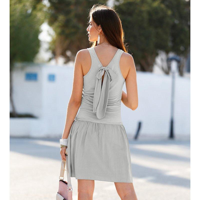 Vestido corto efecto dos piezas top y falda