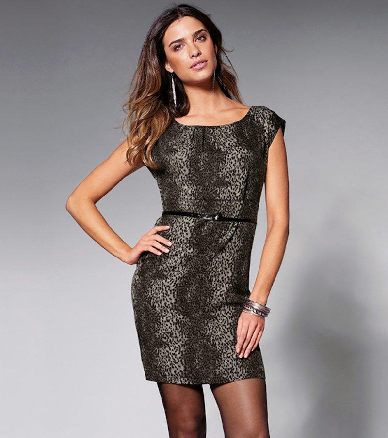 Vestido mujer manga corta leopardo con cinturón