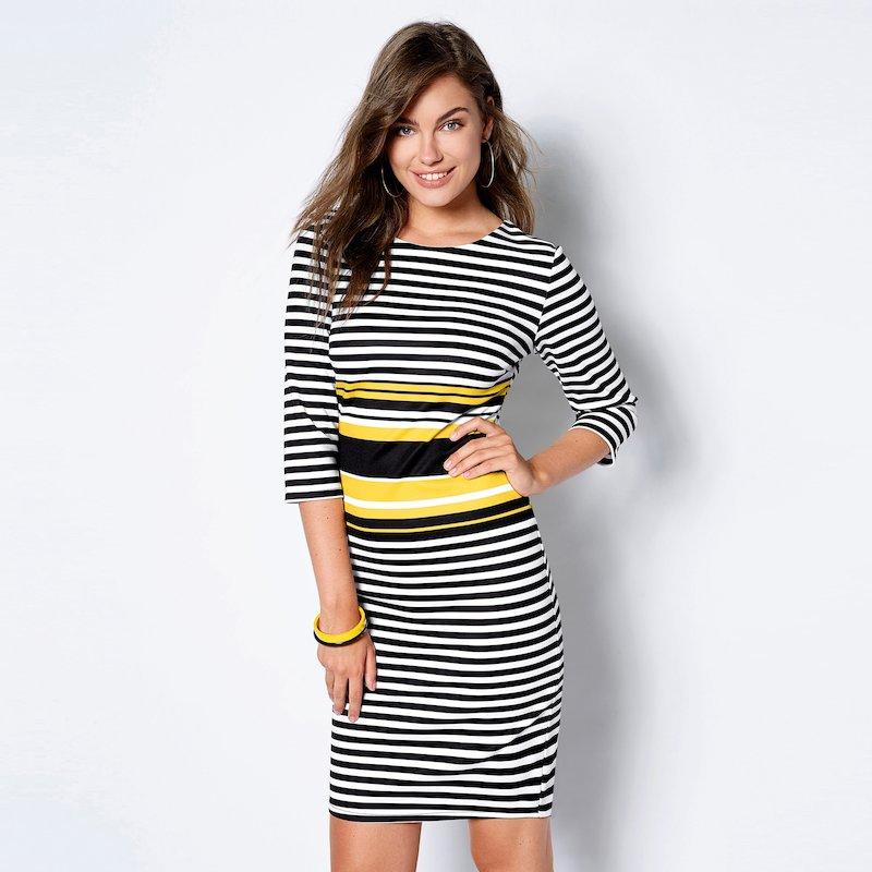 Vestido corto a rayas tricolor punto neopreno - Amarillo