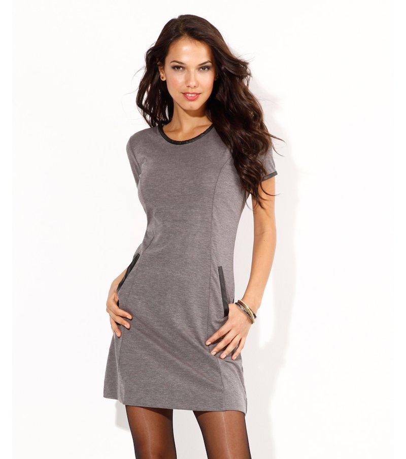 Vestido corto mujer con vivos símil piel - Gris
