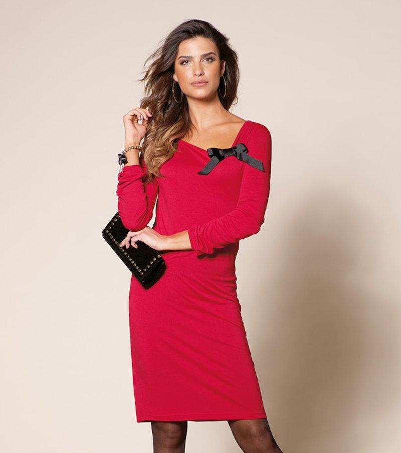 Vestido mujer manga larga de punto elástico lazo