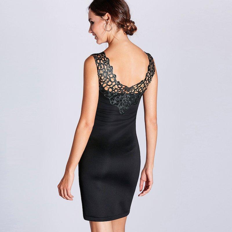 Vestido corto de fiesta sin mangas con guipur - Negro