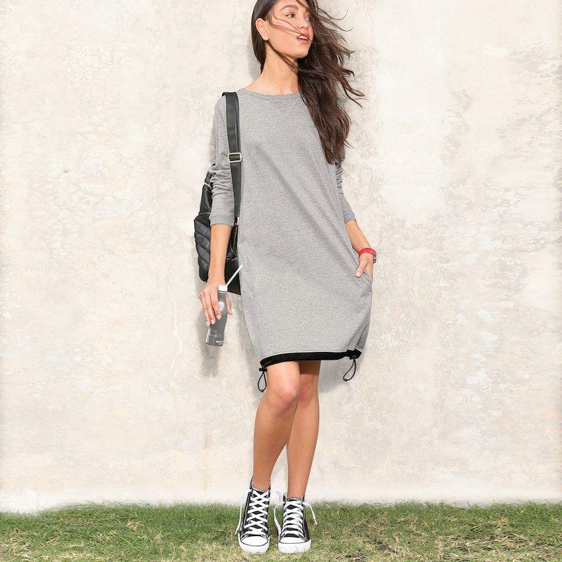 Vestido mujer de manga larga en suave felpa con canalé