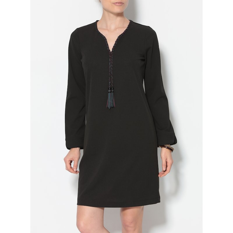 Vestido mujer de manga larga con pasamanería