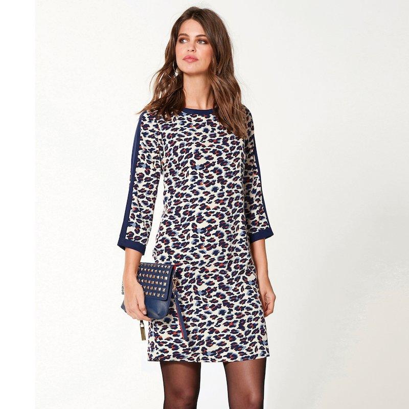 Vestido manga 3/4 leopardo en tejido crepe