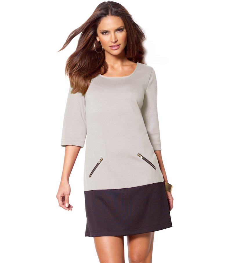 Vestido mujer manga 3/4 punto milano bicolor