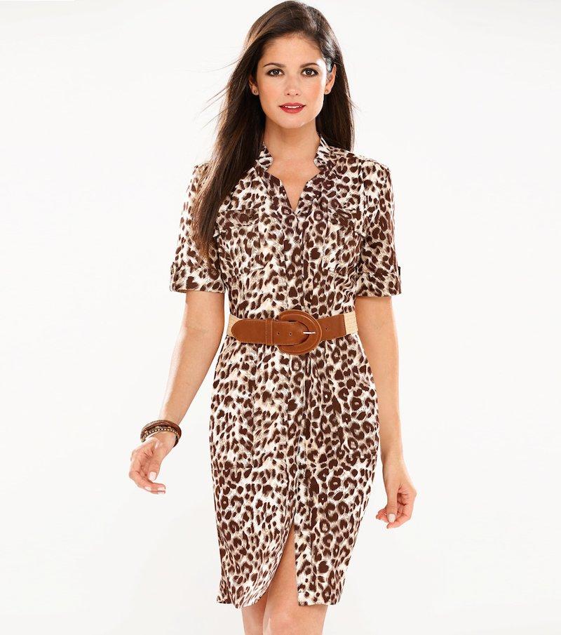 Vestido camisero safari mujer manga corta