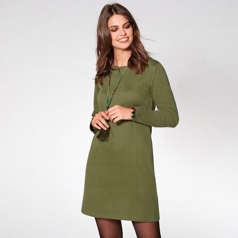 Vestido escote redondeado y manga larga en fina felpa