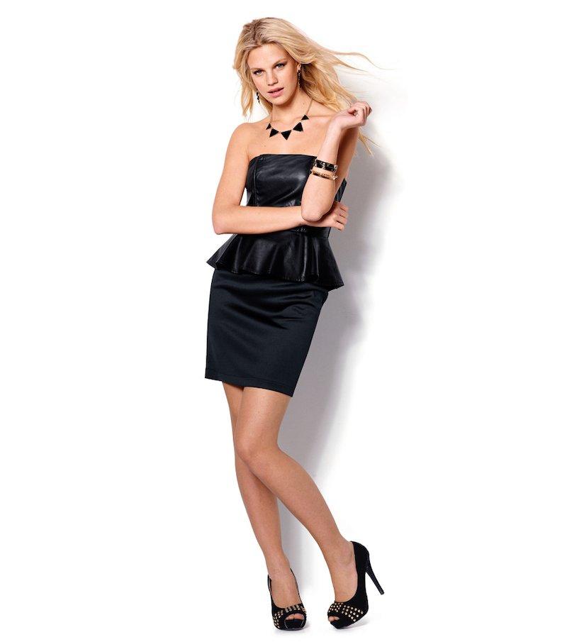 Vestido mujer palabra de honor símil piel - Negro