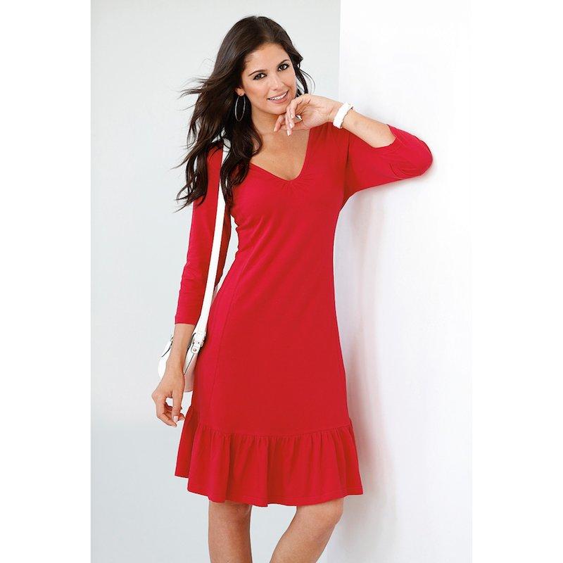 Vestido mujer en punto 100% algodón con volante