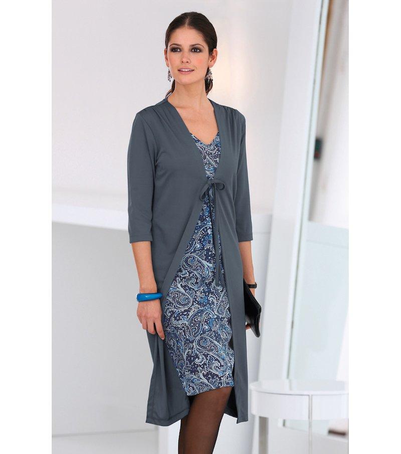 Vestido mujer efecto doble con chaqueta - Gris