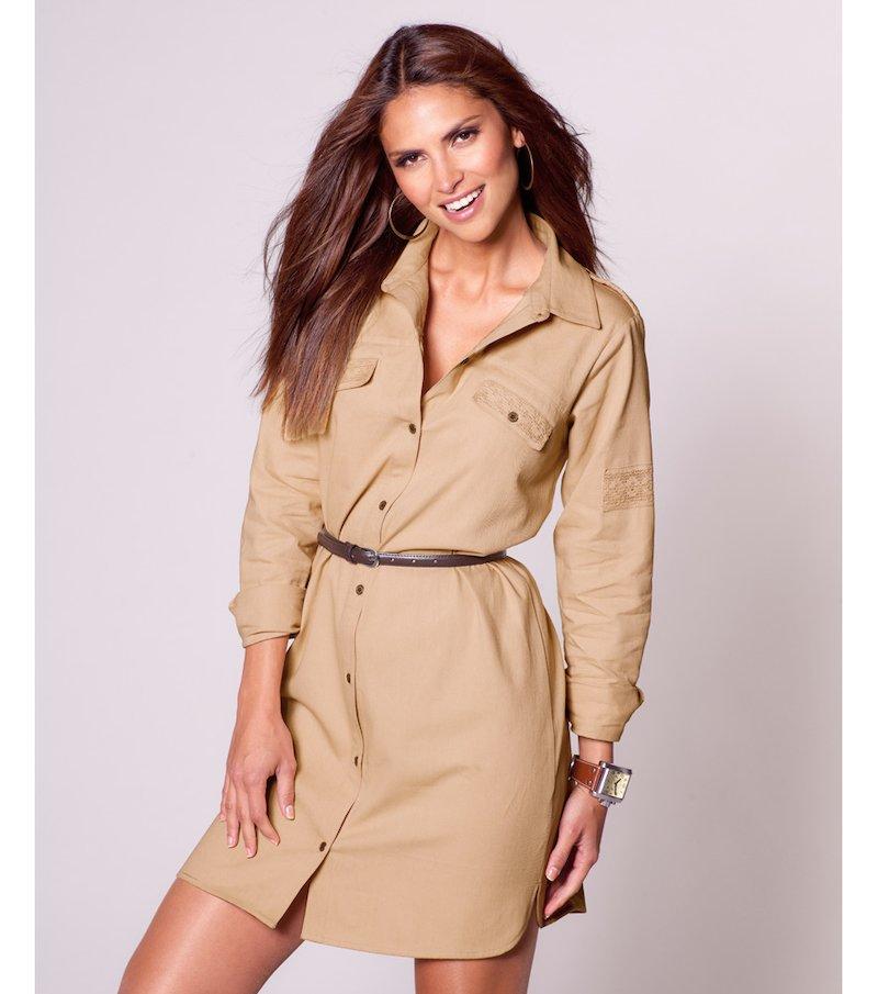 Vestido camisero mujer manga larga