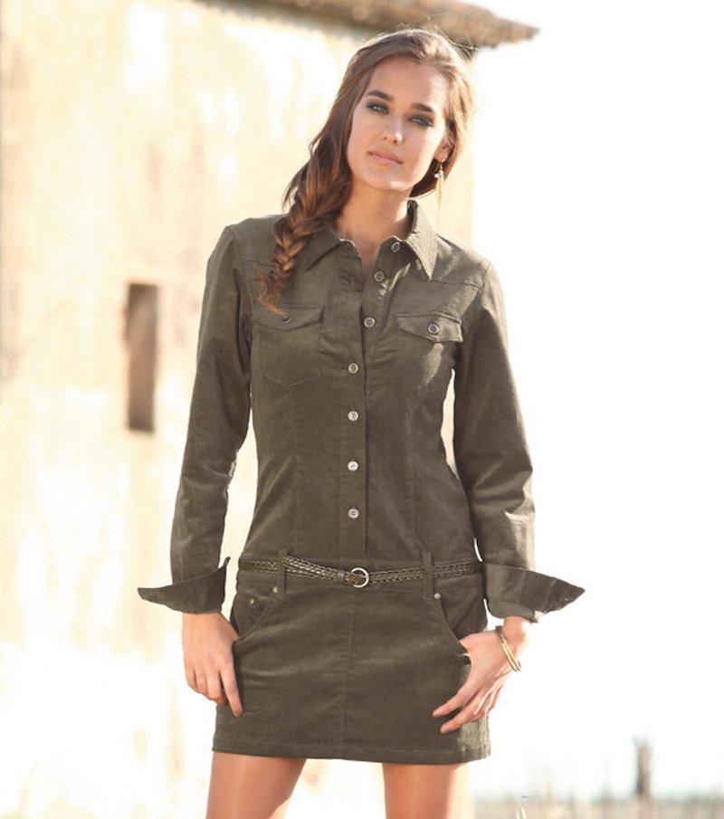 Vestido mujer manga larga pana elástica