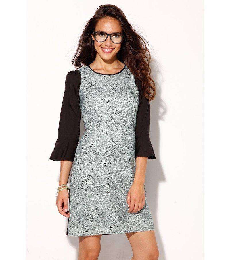 Vestido mujer manga 3/4 estampado símil encaje