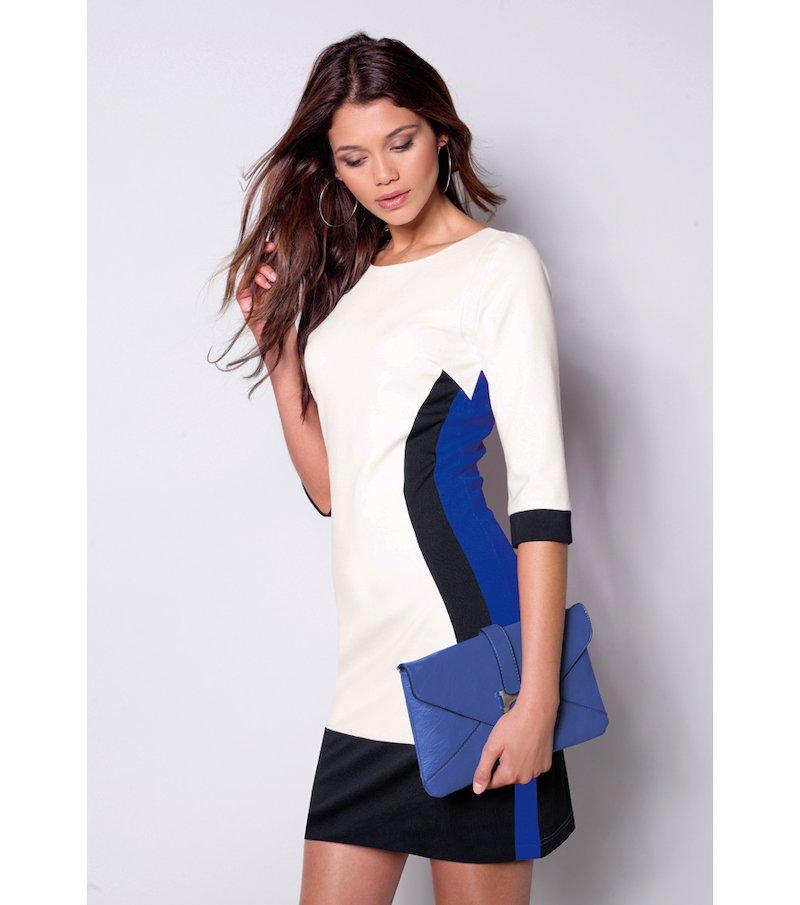 Vestido mujer manga 3/4 tricolor elástico - Azul