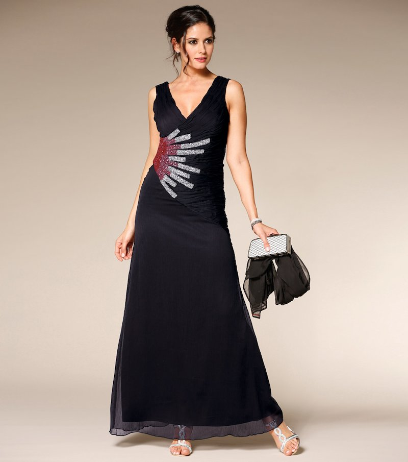 Vestido largo de fiesta mujer con abalorios