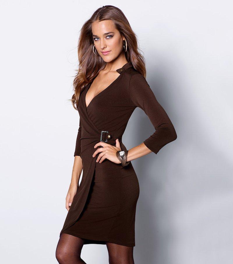 Vestido mujer manga 3/4 punto elástico - Marrón