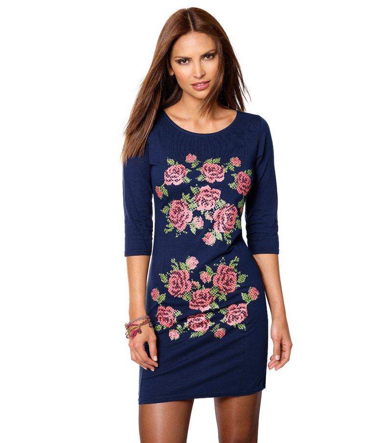 Vestido mujer manga corta 100% algodón - Azul