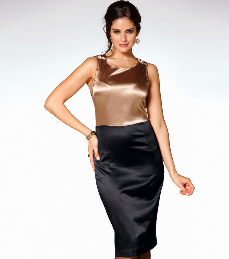Vestido de fiesta mujer sin mangas con encaje - Negro