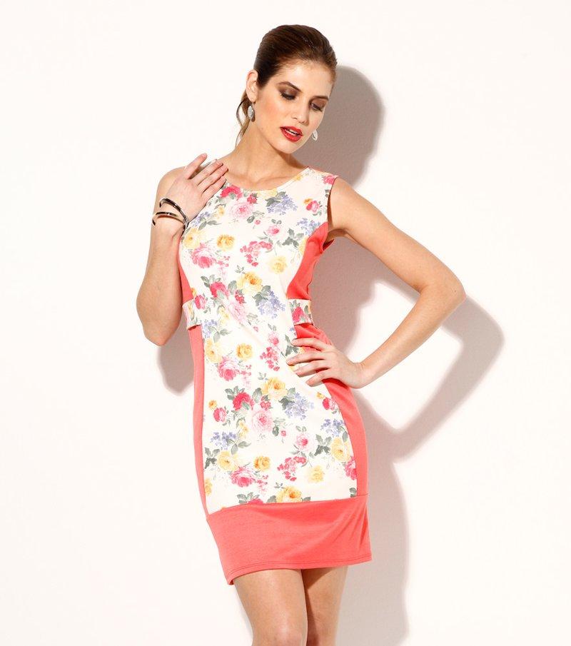Vestido mujer sin mangas punto flores
