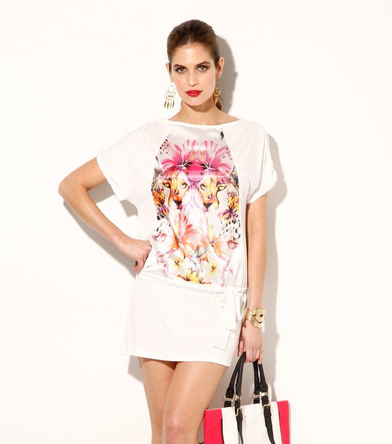 Mini vestido mujer con cinturón estampado elástico - Blanco