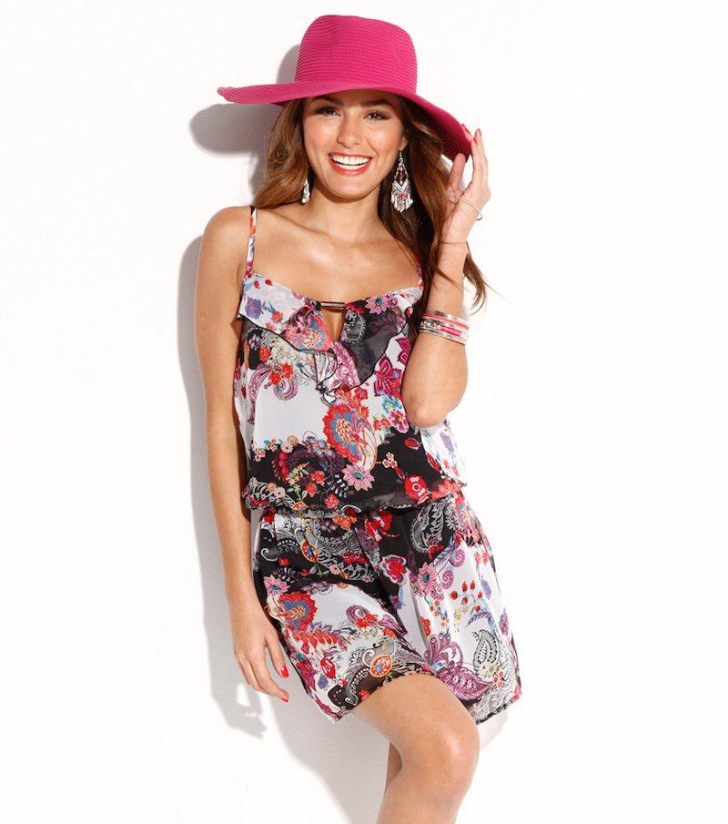 Vestido mujer de tirantes estampado con volante