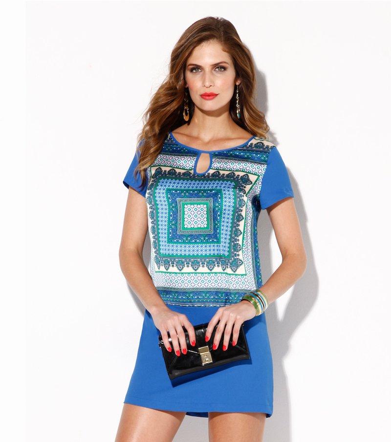 Vestido mujer manga corta con estampado azul - Multicolor
