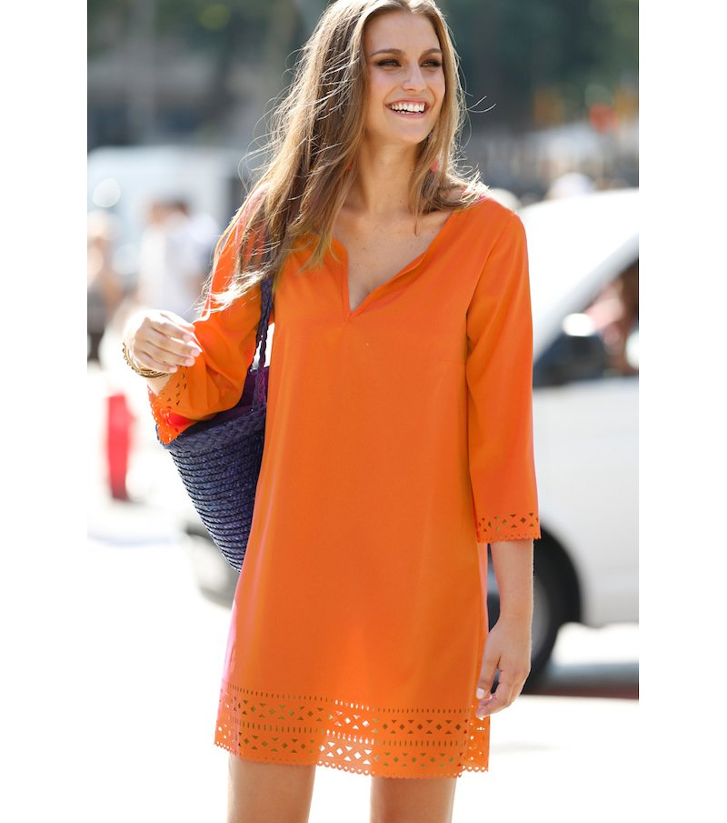 Vestido túnica mujer manga corta con troquelado - Naranja