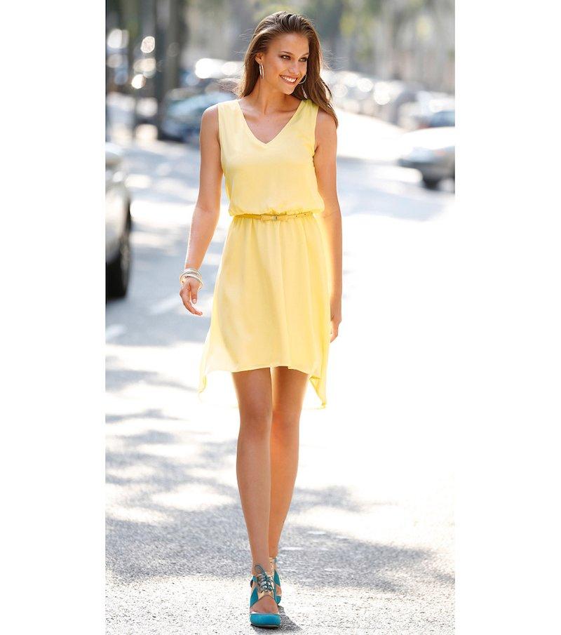 Vestido mujer sin mangas asimétrico