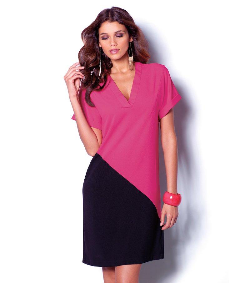 Vestido mujer manga corta bicolor