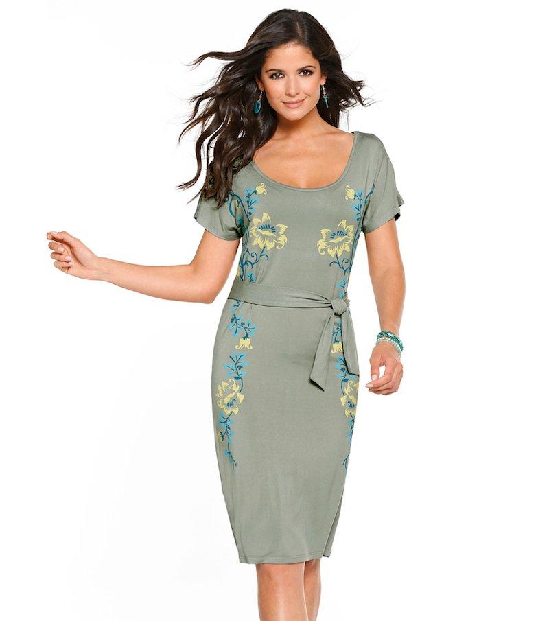 Vestido mujer manga corta de punto motivos florales