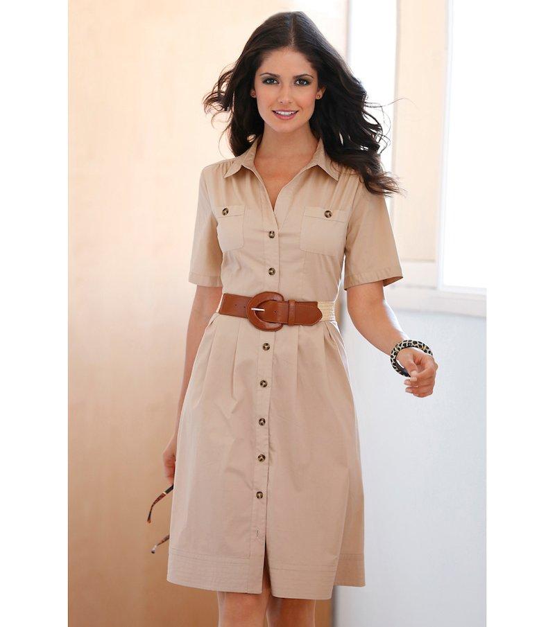 Vestido camisero mujer manga corta elástico