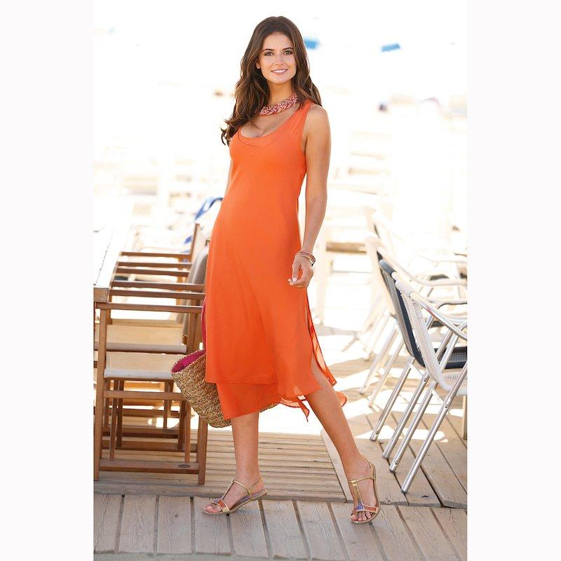 Vestido largo mujer sin mangas capas - Naranja