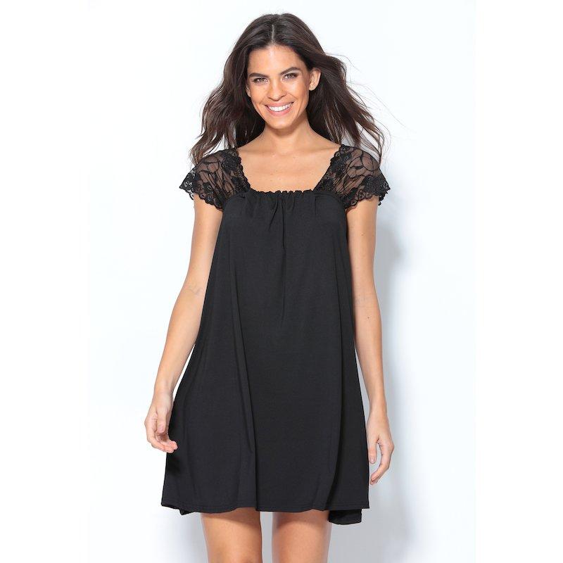 Vestido corto de punto fiesta con manga de blonda - Negro