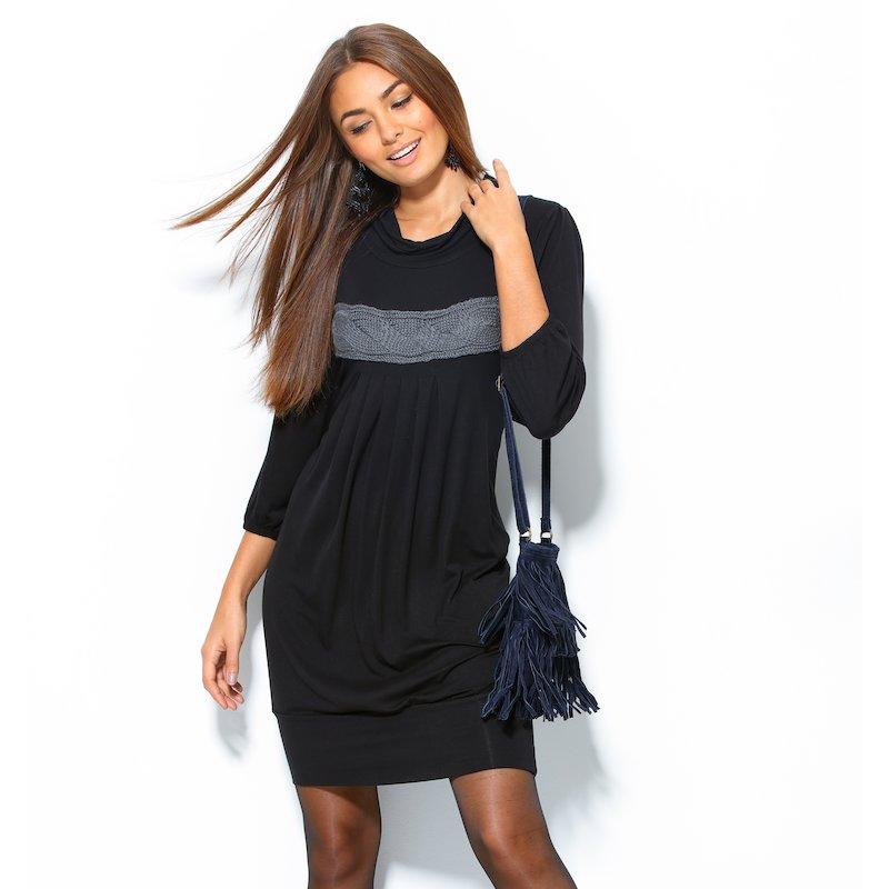 Vestido mujer trenza de tricot negro