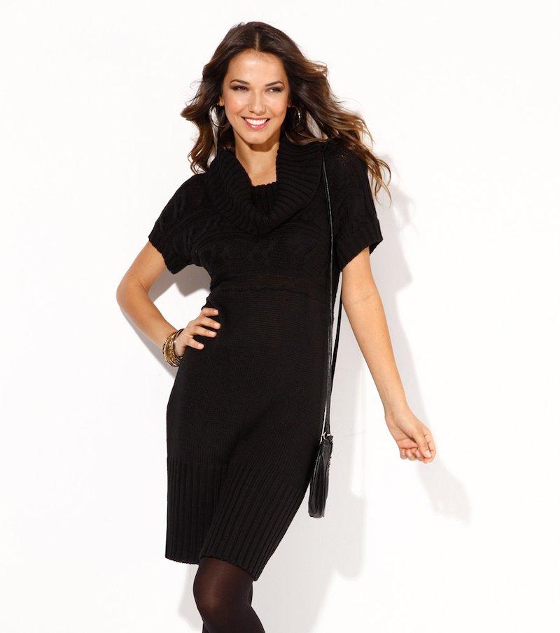 Vestido escote drapeado mujer negro