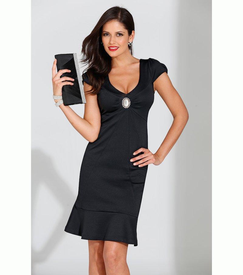 Vestido fiesta mujer manga corta con broche - Negro