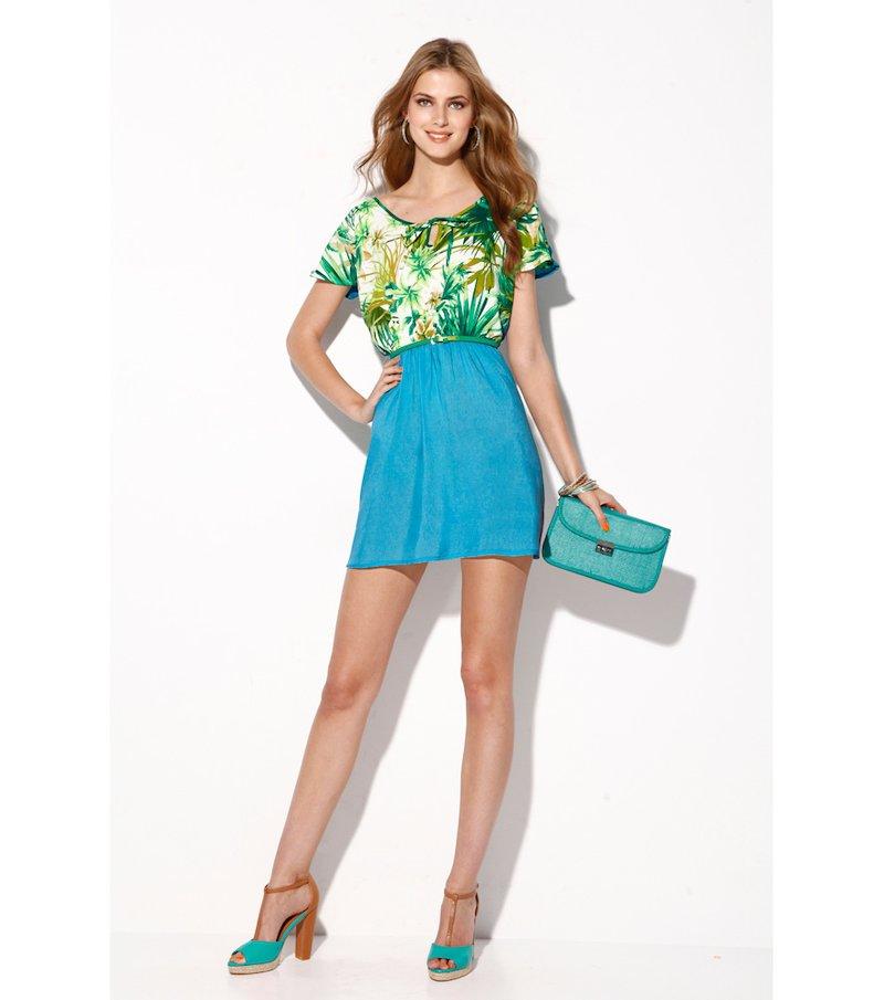 Vestido mujer manga corta con estampado tropical