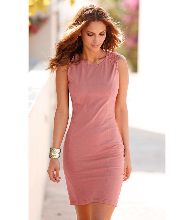 Vestido mujer sin mangas de punto con encaje - Rosa